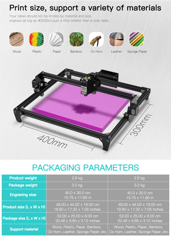 2Axis CNC Laser Engraving Machine/Desktop Wood Router/Cutter/Printer