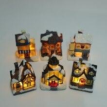 Clorful светодиодный мигающий смоляный Рождественская сцена деревенские дома городской аккумулятор работает Рождество Ornamnet