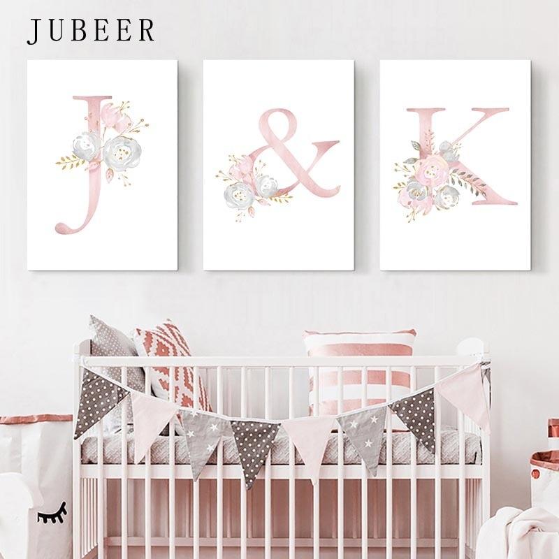 Bebek posterler kişiselleştirilmiş kız adı özel Poster kreş baskılar pembe çiçekler duvar sanatı tuval yağlıboya resimleri kızlar odası için
