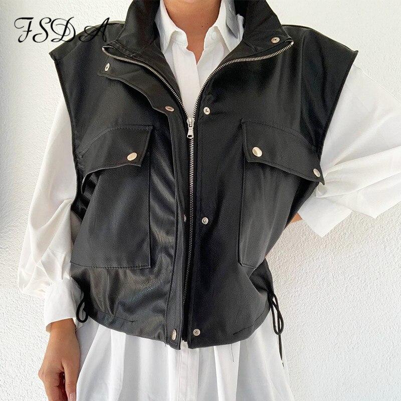 FSDA sans manches 2020 PU cuir veste gilet femmes noir fermeture éclair automne hiver kaki poche décontracté manteau court gilet ample