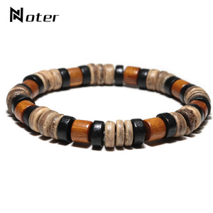 Image 1 - Noter Vintage Wenge Wood Bracelet Men Boy Minimalist 2 Styles Yoga Braslet Prayer Jewelry Accessories Male Charm Brazalete Gift