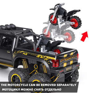 Image 3 - 1:28 Diecast SUV FORD RAPTOR Metal Model Car Toy Wheels Alloy Vehicle Sound And Light Pull Back Car Boy Kid Toys Christmas Gift