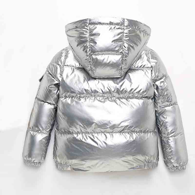 2019 Children Winter Duck Down Jacket for Kids Girl Silver Boys Casual Hooded Coat Big Boy Clothing Outwear Kids Jacket Snowsuit in Down Parkas from Mother Kids