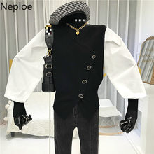 Neploe Contrast Color Tops Women Korean V Neck Puff Sleeve Ladies Jackets Loose Casual Single Breasted Female Coats 1B331(China)