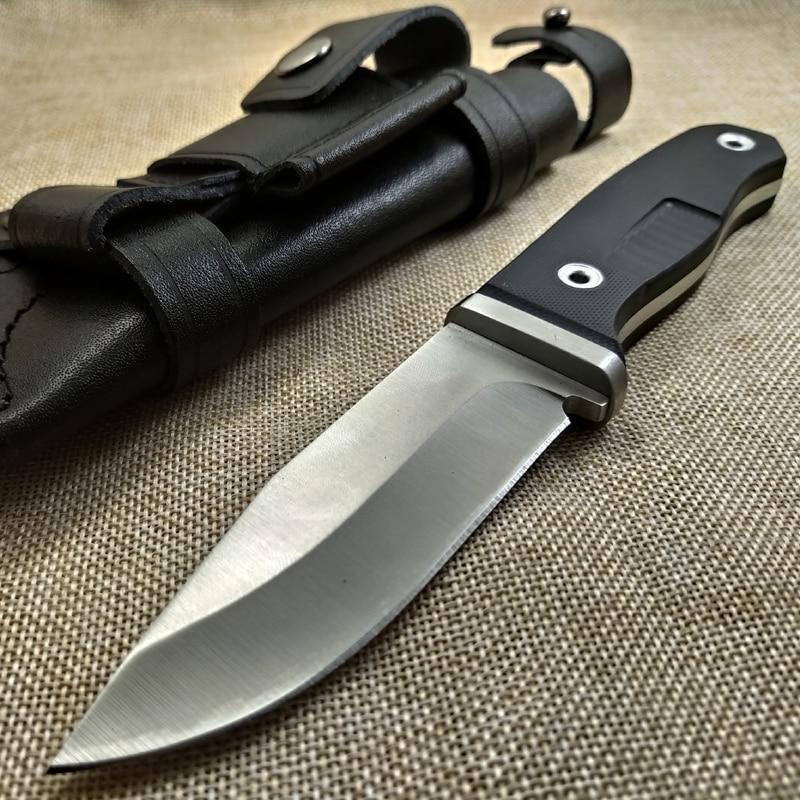Navaja de supervivencia D2, cuchillo para acampar con hoja de acero, herramientas para todos los bordes/Sierra, cuchillos de caza de mitad y mango de VG-10, cuchillo de bolsillo y Funda de cuero Cuchillo de mariposa debajo de la pintura