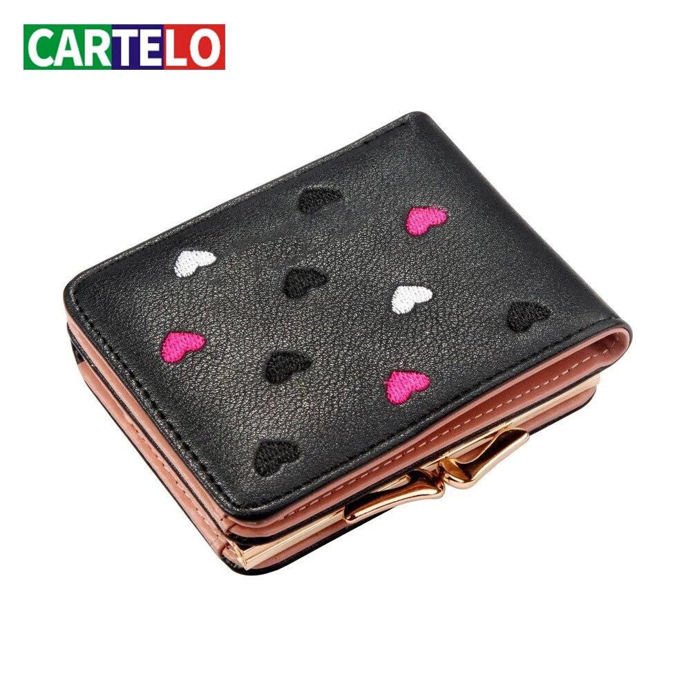 CARTELO New Women's wallet shortwallet Korean version wallet women sequins zero mini wallet embroidered wallet