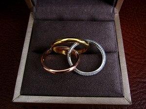 Image 2 - יוקרה AAA מעוקב Zirconia מיקרו פייב הגדרת לשלושה זעיר טבעת, עיצוב נהדר, 3 גווני ציפוי, חתונה & המפלגה תכשיטי לנשים R3666