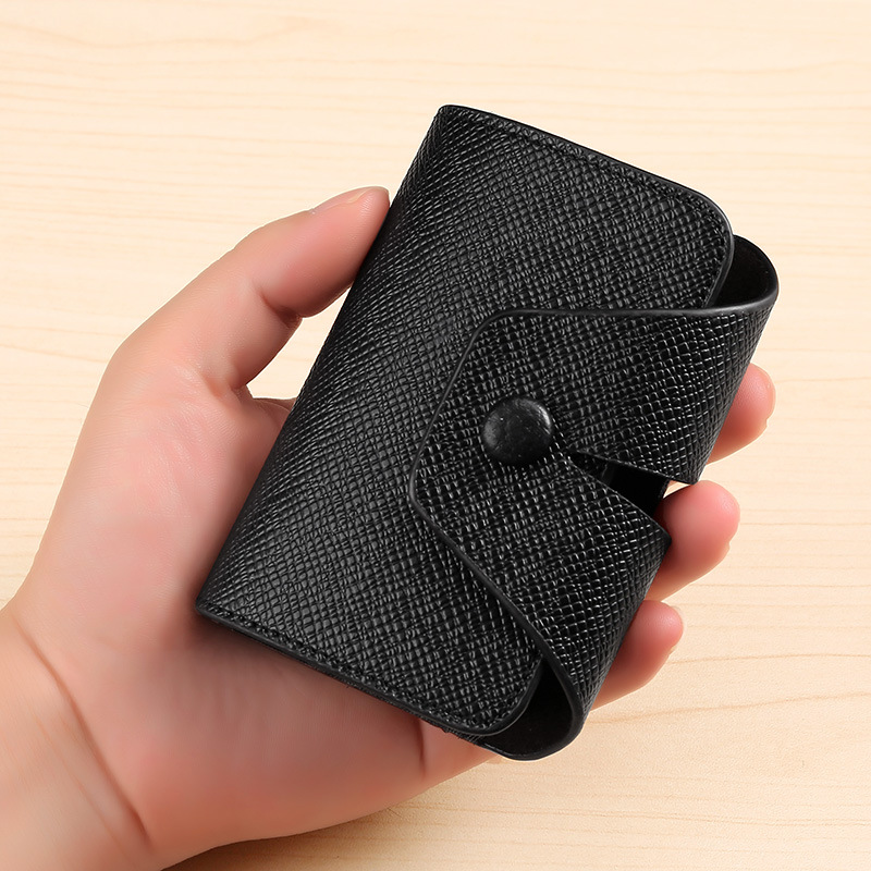 Foreign Trade Cross Border Hot Selling Multi-functional Organ Wallet Solid Color Cross Pattern Bank Credit Card Holder Men And W
