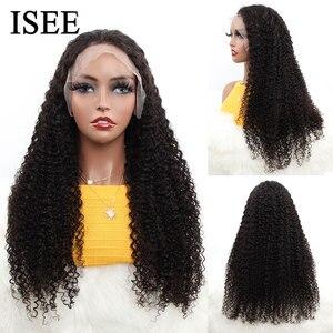 Image 2 - 브라질 변태 곱슬 HD 투명 레이스 정면 가발 여성 13x4 ISEE 머리 인간의 머리가 발 180% 밀도 레이스 프런트가 발