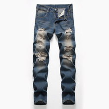 Men's Worn-out Nostalgic Jeans Explosions Hole Denim Pants Biker Moto Jeans Slim Fit Straight Denim Pants Distressed Trousers 2018 mens leg with hole straight slim biker denim jeans trousers skinny pants