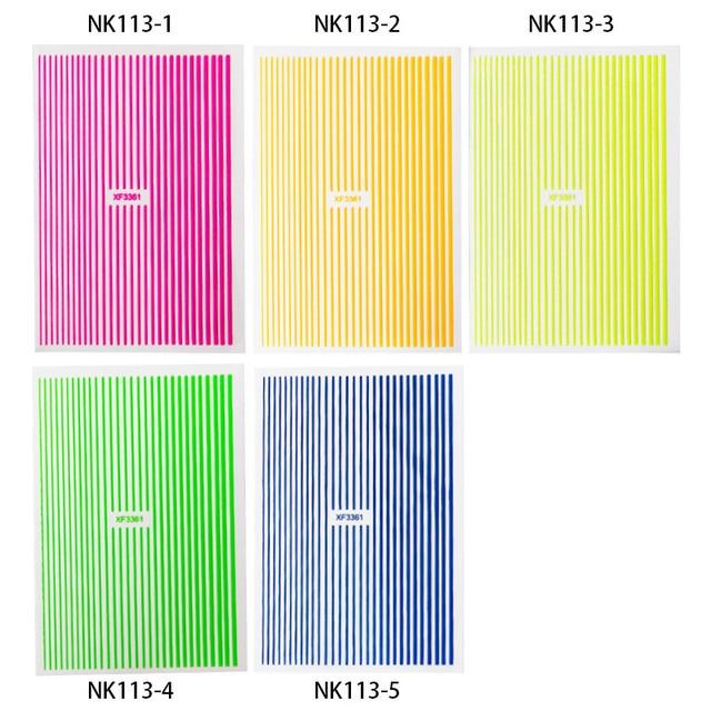 1PC 3D Fluorescent courbe rayure lignes ongles autocollants adhésif rayure robinet ornements multi-couleurs ongles décalcomanies autocollants manucure