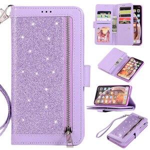 Image 5 - Роскошный кожаный кошелек для iPhone 12 Mini 11 Pro MAX, откидной блестящий чехол для iPhone X XS MAX XR 6 6s 7 8 Plus, чехол на молнии с отделениями для карт