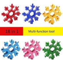 18 em 1 multifuncional criativo ferramenta chave do floco de neve aço octogonal pequena chave hexagonal portátil acampamento ao ar livre sobreviver ferramenta