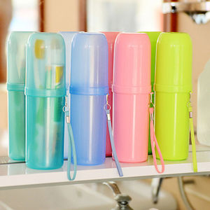 cute Pure Color Couple Travel Toothbrush Box Toothpaste Holder Protect Case Cup & Travel  Water Storage