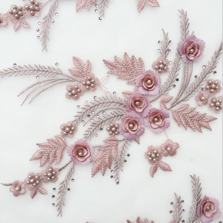 1 Pair Wedding Dress Flower Embroidery Lace Applique DIY Bridal Headdress Collar