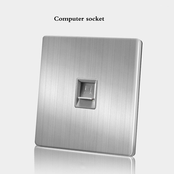 86 Type wall switch panel Five hole socket with switch Brushed Stainless steel 5-hole socket Household 1 2 3 4Gang 1 2Way switch 18