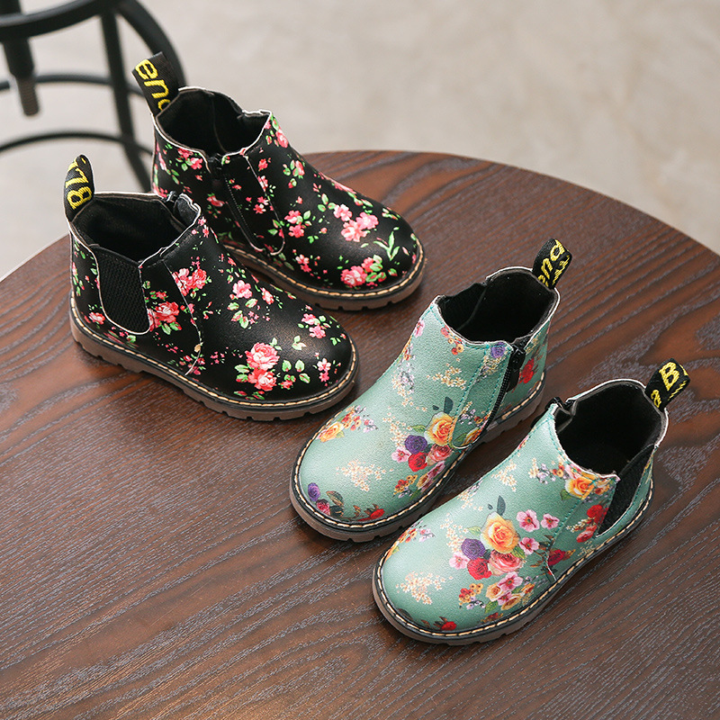 New Autumn Winter Kids Boots Sequin Leather Boys Girls Boot For Kids Lace-up Non-slip Waterproof Fashion Children's Martin Boots