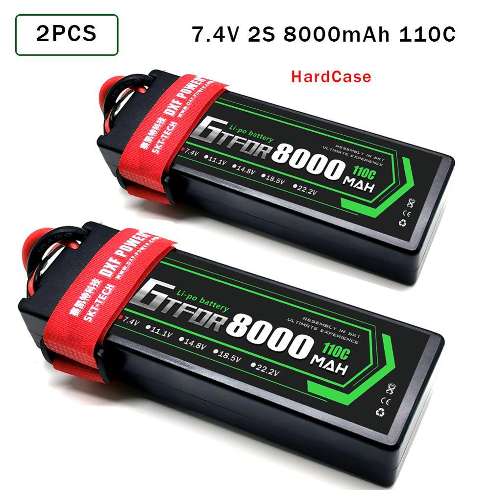 GTFDR 8000mAh 7.4V 110C Lipo Batteries 2S RC Lipo Battery  Deans XT60 EC5  XT90  For 1/8 1/10 Off Road  RC Car Truck  Buggy