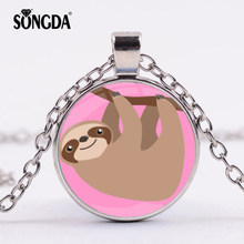 SONGDA Funny Cute Sloth Hanging on Tree Branch Pattern Pendant Necklace Kawaii Cartoon Animals Jewelry Xmas Gift for Baby Girls(China)
