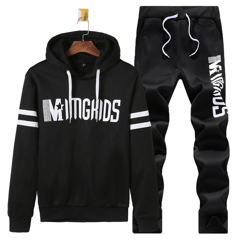 Autumn Set Men's 2018 New Style Korean-style Trend Handsome Hip Hop Loose-Fit Long-sleeved T-shirt Two-Piece Set Students Hoodie