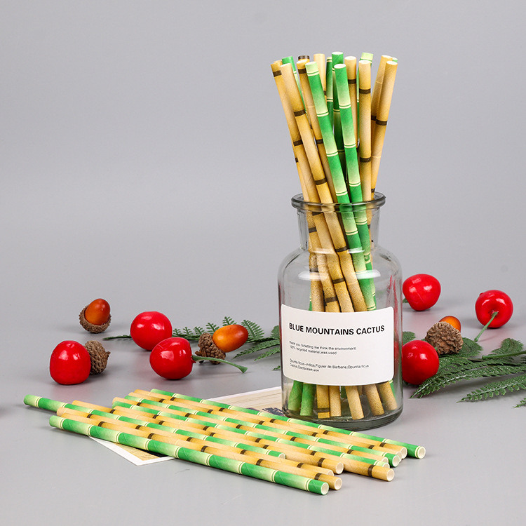 Color Paper Straw Biodegradable Bamboo Joint Paper Sucker Party Paper Sucker