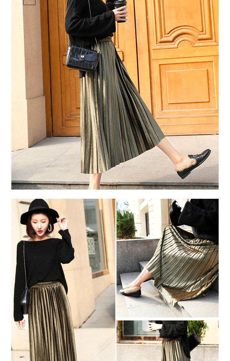 H501bfd733309458db305ca213e6f0e9dk - Gold Velvet Long Skirt Women Fall Winter Korean Pleated High Waist Casual Loose Office Lady Clothes Bottoms Plus Size