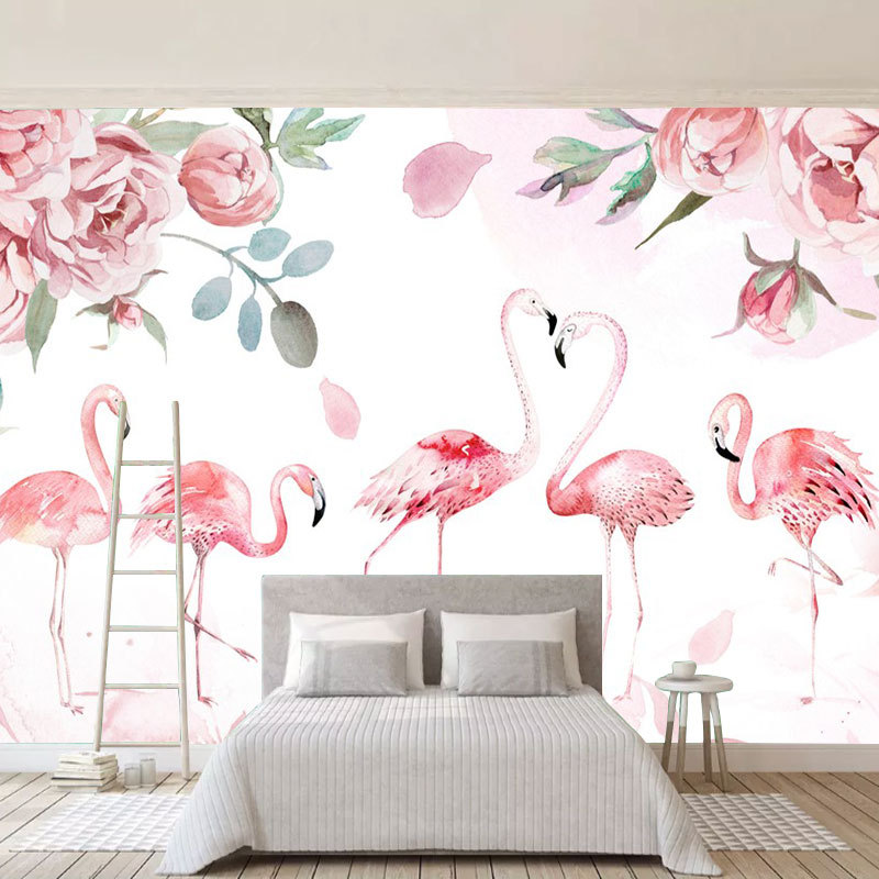 Scandinavian Minimalist Fresh Hand-Painted Flamingo Wallpaper Bedroom Sofa Living Room Television Background Wall Seamless Wall