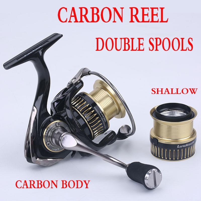 Free Shipping! LUREKILLER BLACK GULL 2000 2500 3000 4000 Carbon Reel Double Spool 9+1 Stainless Steel Bearing Spinning Reel