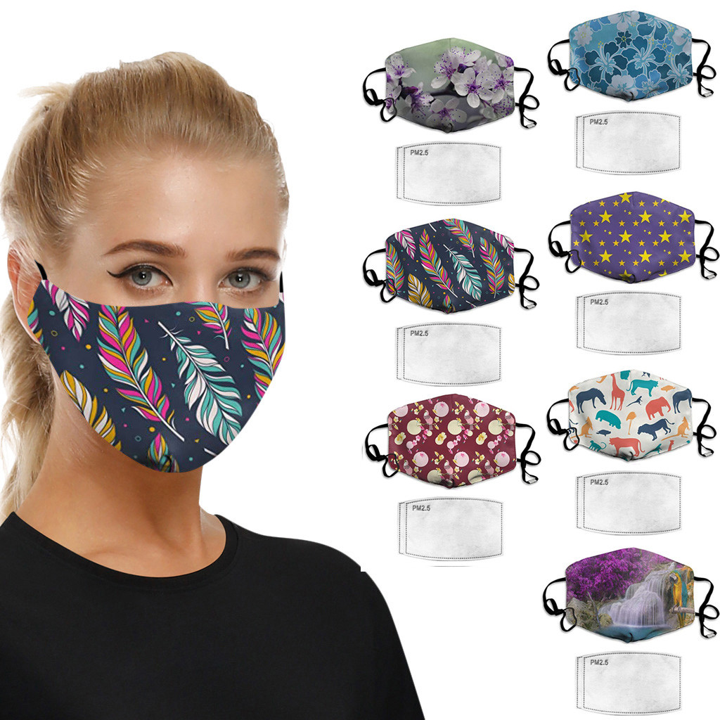 PM2.5 Outdoor Washable Face Mask Protection Printing Mouth Face Mask Dust Proof Mouth Mask Breathable Reusable With Filter
