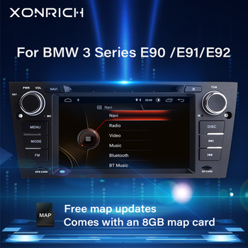 Xonrich 1 Din Car Multimedia Player For BMW E90/E91/E92/E93 3 Series 2005-2012 Radio Head unit GPS Navigation Stereo Audio DVD image