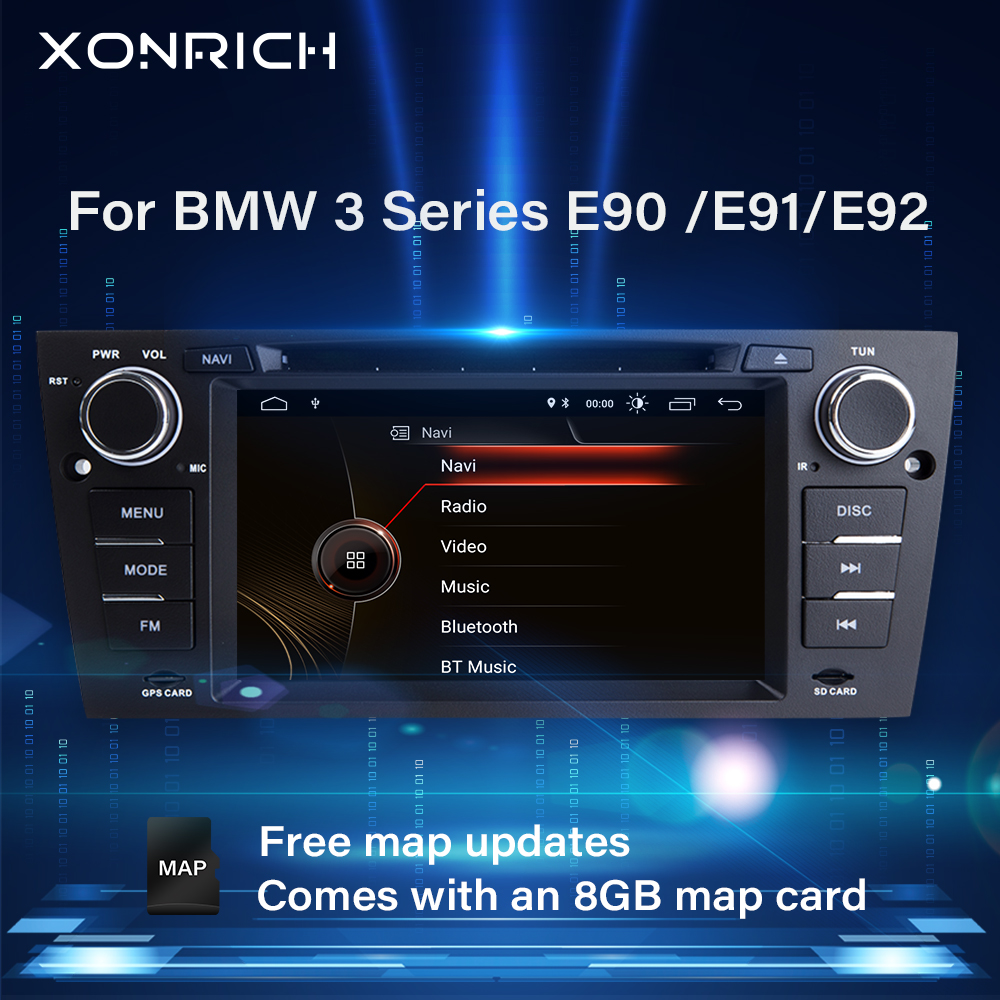 Xonrich 1 Din Car Multimedia Player For BMW E90/E91/E92/E93 <font><b>3</b></font> Series 2005-2012 Radio Head unit GPS Navigation Stereo Audio DVD image