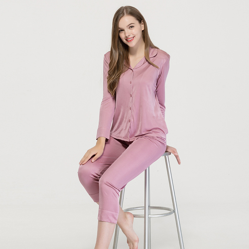 Autumn new pure silk pajamas women's thin long sleeve loose large mulberry silk knitting two piece home clothes 9090