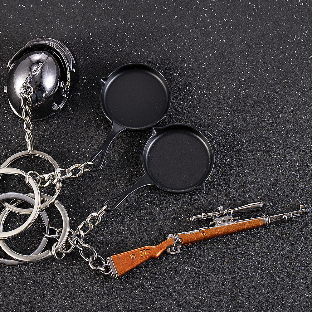 3D Fashion Eat Chicken Key RING Pendant Battle Frying Pan Helmet 98k Keychain Jewelry