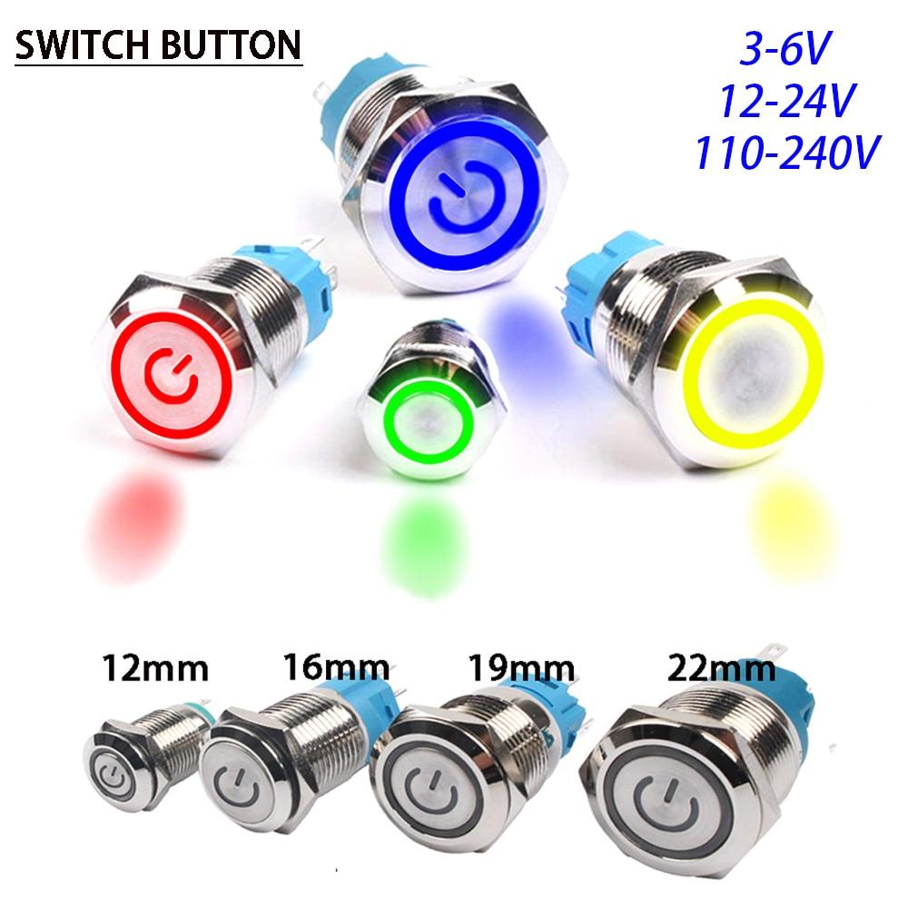 12/16/19/22mm Metal Push Button Switch Power Button Waterproof Flat Circular Button LED light Self-Lock Button 5 5v 12v 24v 220v