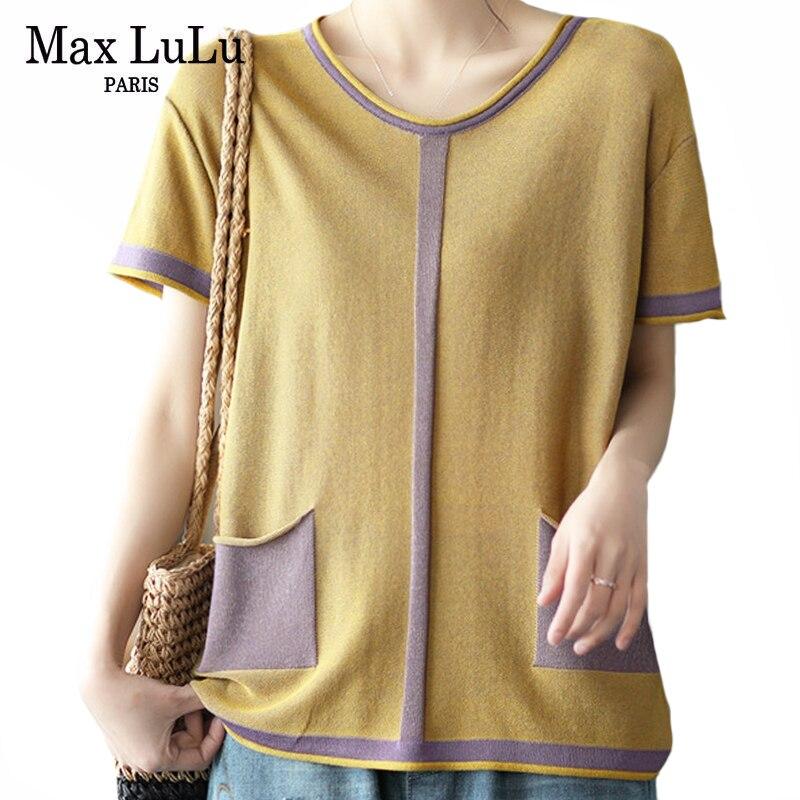 Max LuLu Koreanische Neue Stil Sommer T-shirts Frauen Strick Kurzarm T Damen Gespleißt Vintage Kleidung Weibliche Übergroßen Tops