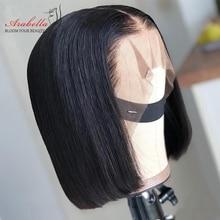 13x5x2 bob peruca hd laço transparente brasileiro peruca reta 100% cabelo humano pré arrancado com o cabelo do bebê arabella remy bob peruca