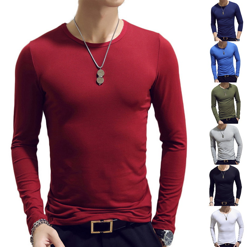 Men T-Shirts Top-Clothing Tee Spring O-Neck Long-Sleeve Fitness Basic Jogging Running
