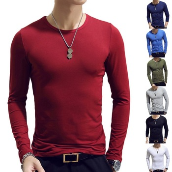 2020 Spring Men T-Shirts Long Sleeve O-Neck Casual Fitness Jogging Solid Fashion Tee Basic Running Homme Top Clothing