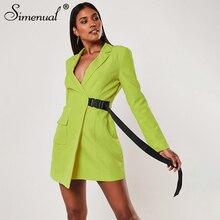 Simenual Solid Color Bodycon Women Blazer Buckles Sash Long Sleeve Fashion Slim Blazer 2019 Autumn Casual Pocket Ladies Jackets все цены