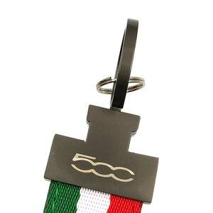 Автомобильный брелок с итальянским флагом для Alfa Romeo Fiat 500, 1 шт., металлический брелок с эмблемой abarth