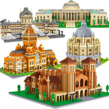 Алмазный городской архитектурой, тадж-махал, Университет Оксфорд, микростроительные блоки, Биг-Бен-Кембридж, Лондон, Париж, Лувр, игрушки