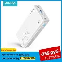 ROMOSS-Banco de energía Sense 8 +, 30000 mAh, QC PD 3,0, carga rápida, cargador de batería externo de 30000 mAh para iPhone, Xiaomi Mi
