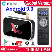 X2 Cube Android 9.0 TV Box Smart Set top box S905X2 DDR4 RAM 2GB ROM 16GB 2.4G/5G Wifi 1000M Bluetooth 4.2 Media Player 4K HD