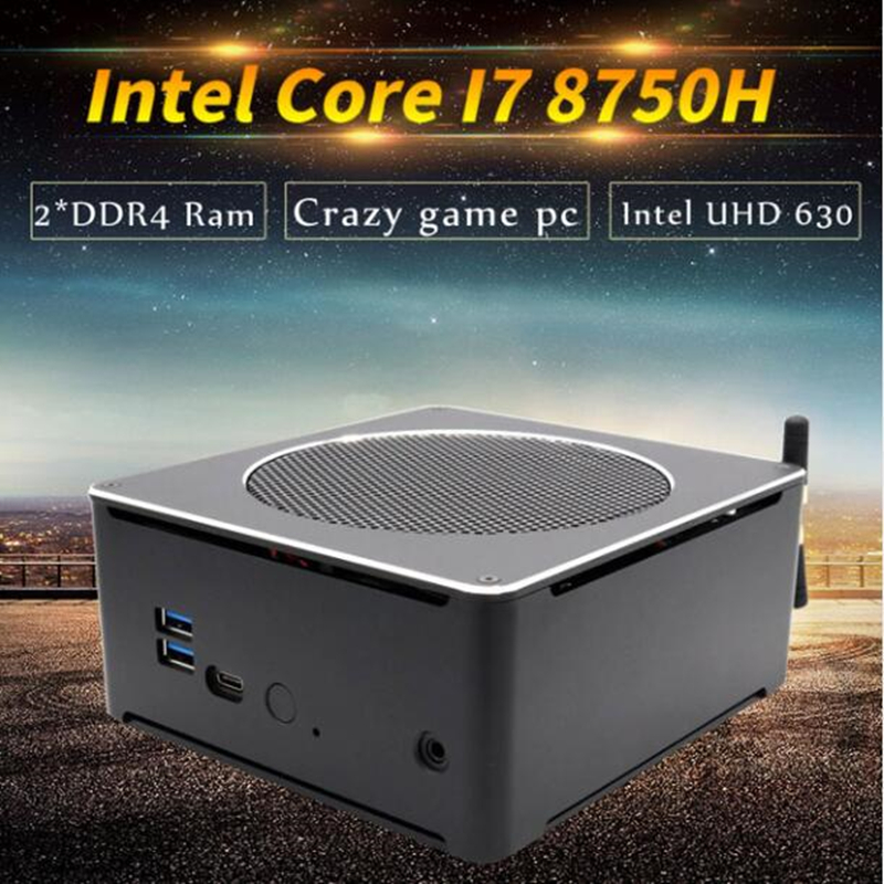 8th Gen Intel Mini PC Computer Core I7 8850H 8750H 6 Core 12 Threads 32GB DDR4 2*M.2 SSD I5 8300H UHD Graphics 630 Mini DP WiFi