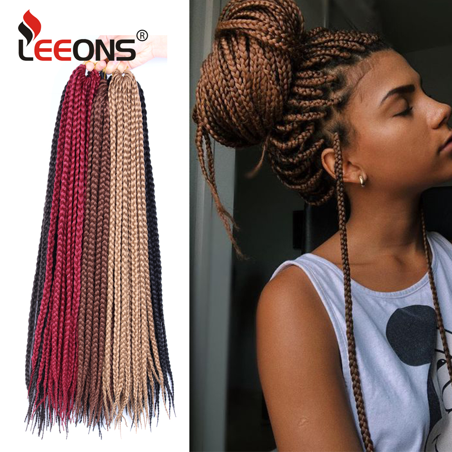 Leeons Popular And Cheap Box Crochet Braids Synthetic Fiber Goddess Locks Crochet Braiding Hair Extensions 12 Colors Available