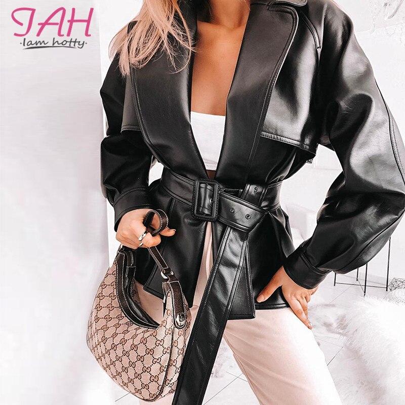 IAMHOTTY Black Fashion PU Leather Women Jackets Belt Punk Style Motorcycle & Biker Windbreaker Solid Winter Warm Outwear Coats