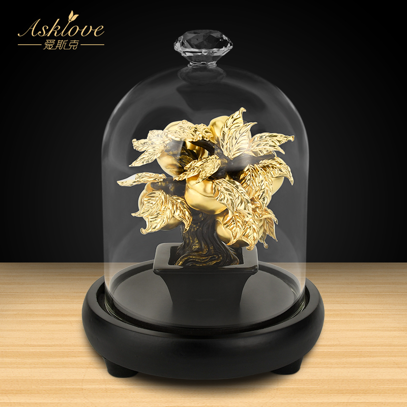 Lucky Feng Shui Fruit Plant Bonsai Gold leaf Persimmon Tree Statue Sculpture Wealth Figurine Gift Home Desktop Decoration Crafts