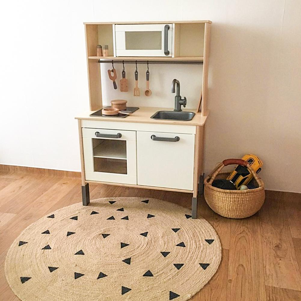 Jute Weave Mat Children's Home Carpet Photography Props Kindergarten Jute Mat Hand Woven Home Floor Mats Decoration