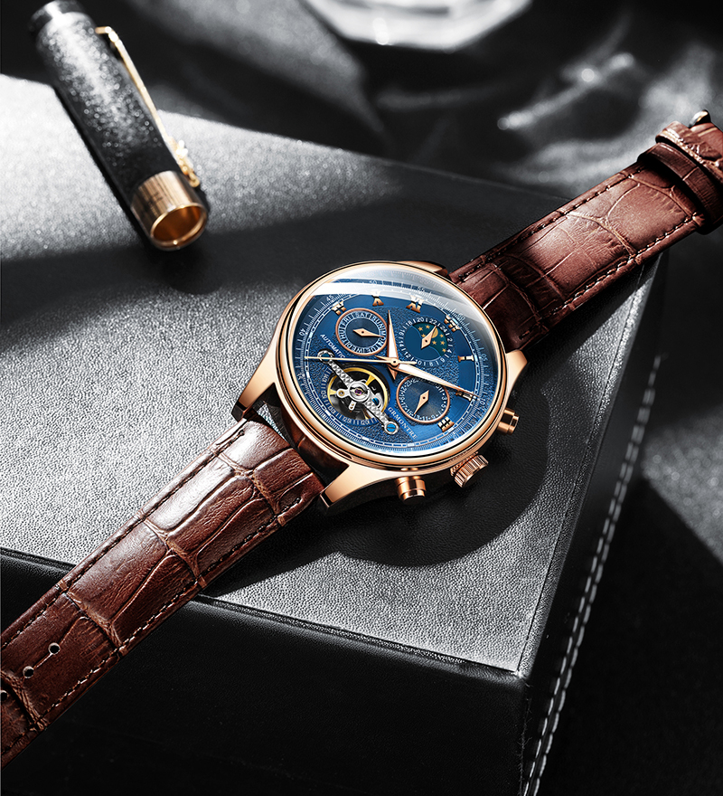 H501d3513ff9342978467ff2802cfc727d Skeleton Tourbillon Mechanical Watch Men Automatic Classic Rose Gold Leather Mechanical Wrist Watches Reloj Hombre 2018 Luxury