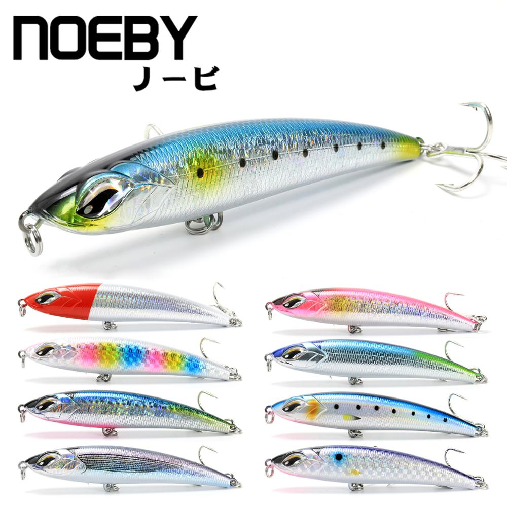 NOEBY 185mm 126 5g New Laser Surface Sinking Pencil Fishing Lure Thru Wire Construction 3x Strength Hook For Tuna GT Big Fish in Fishing Lures from Sports Entertainment